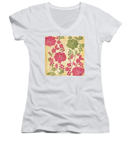 Raspberry Sorbet Floral 2 Women's V-Neck T-Shirt (Junior Cut) by Debbie DeWitt