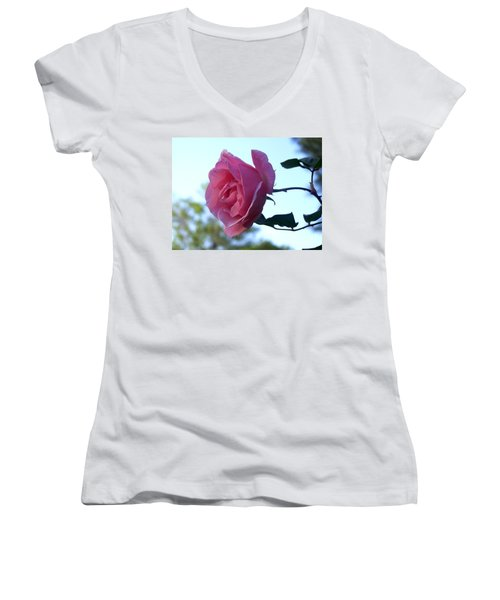 Women's V-Neck T-Shirt (Junior Cut) featuring the photograph Reaching For Sunlight by Kathy  White