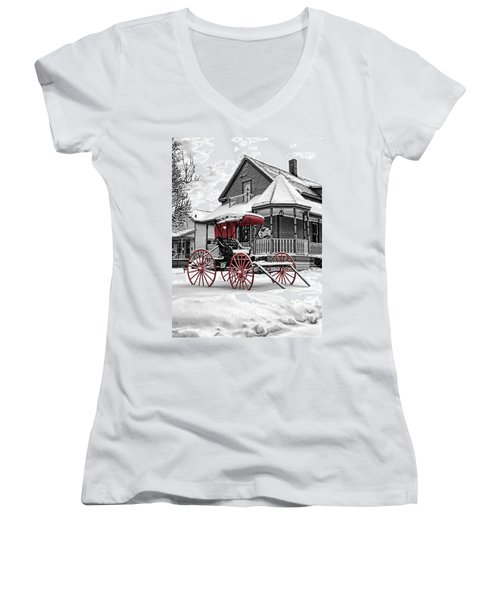 Red Buggy At Olmsted Falls - 2 Women's V-Neck