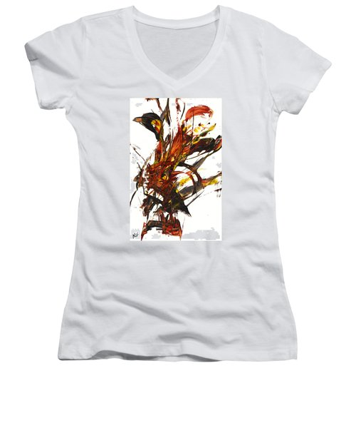 Red Flame II 65.121410 Women's V-Neck T-Shirt (Junior Cut) by Kris Haas