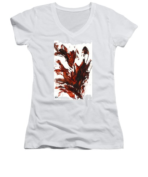 Red Flame IIi 64.121410 Women's V-Neck T-Shirt (Junior Cut) by Kris Haas