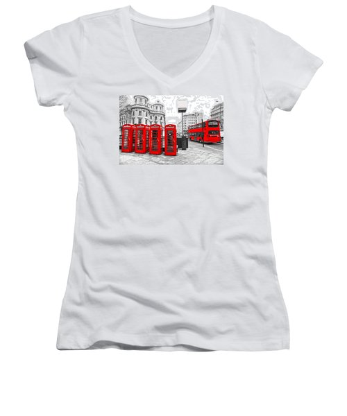 Women's V-Neck T-Shirt (Junior Cut) featuring the photograph Red London by Luciano Mortula