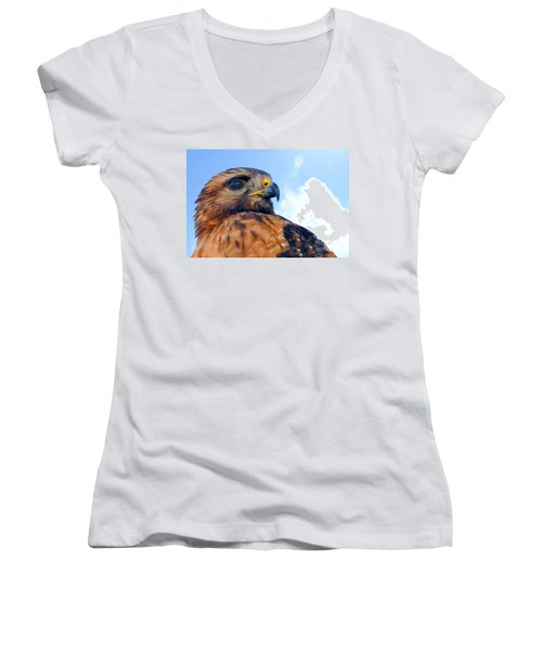 Women's V-Neck T-Shirt (Junior Cut) featuring the photograph Red Shouldered Hawk Portrait by Dan Friend