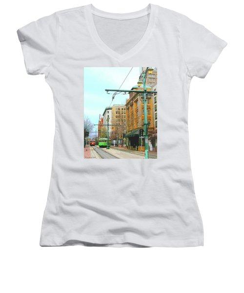 Women's V-Neck T-Shirt (Junior Cut) featuring the photograph Red Trolley Green Trolley by Lizi Beard-Ward