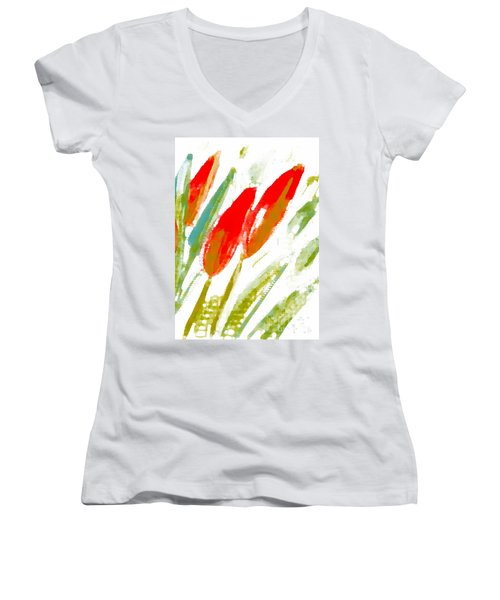 Red Tulips Women's V-Neck T-Shirt (Junior Cut) by Barbara Moignard