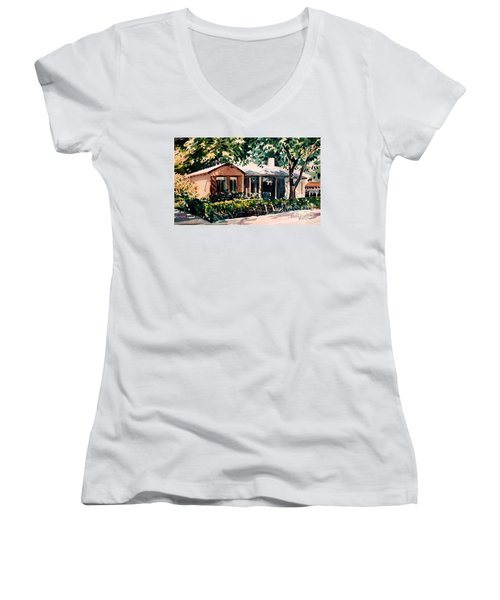 Women's V-Neck T-Shirt (Junior Cut) featuring the painting Redwood City #4 by Donald Maier
