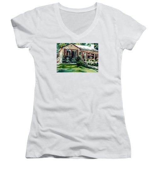 Women's V-Neck T-Shirt (Junior Cut) featuring the painting Redwood City House #3 by Donald Maier
