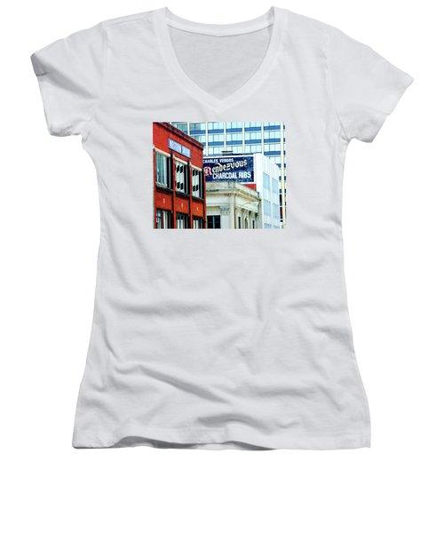 Women's V-Neck T-Shirt (Junior Cut) featuring the photograph Rendezvous by Lizi Beard-Ward