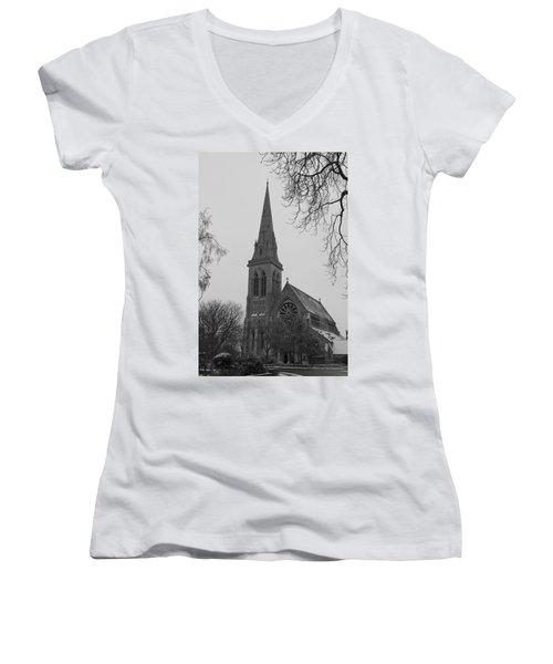 Women's V-Neck T-Shirt (Junior Cut) featuring the photograph Richmond Village Church by Maj Seda