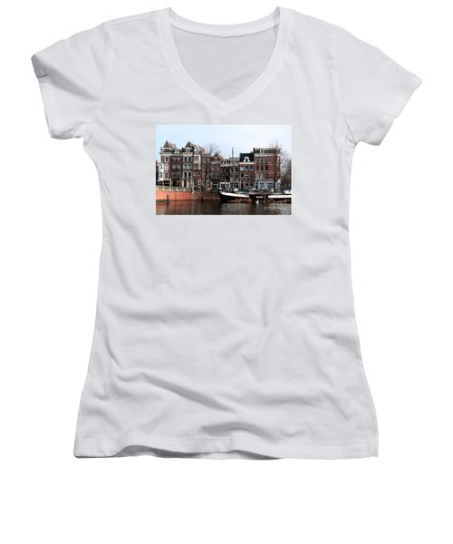 Women's V-Neck T-Shirt (Junior Cut) featuring the digital art River Scenes From Amsterdam by Carol Ailles