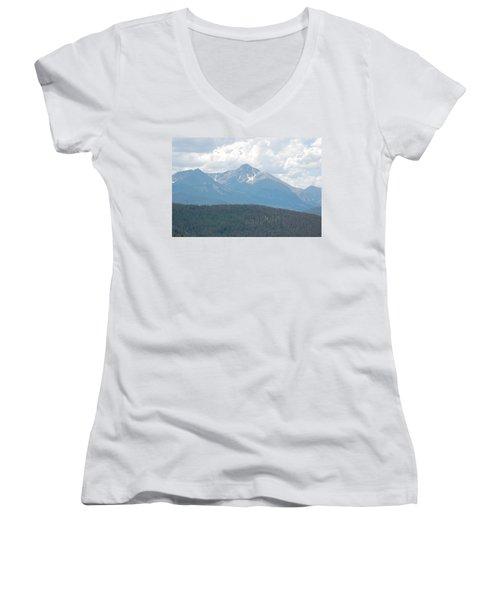 Rocky Mountain High Women's V-Neck T-Shirt (Junior Cut) by Randy J Heath