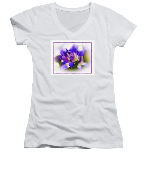Women's V-Neck T-Shirt (Junior Cut) featuring the photograph Royal Purple by Judi Bagwell
