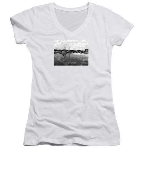 Sailboats At Bluffers Marina Toronto Women's V-Neck T-Shirt (Junior Cut) by Susan  Dimitrakopoulos
