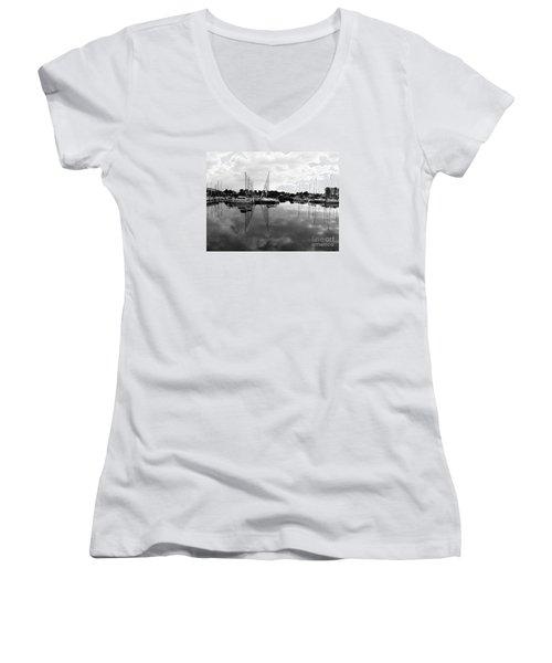 Women's V-Neck T-Shirt (Junior Cut) featuring the photograph Sailboats At Bluffers Marina Toronto by Susan  Dimitrakopoulos