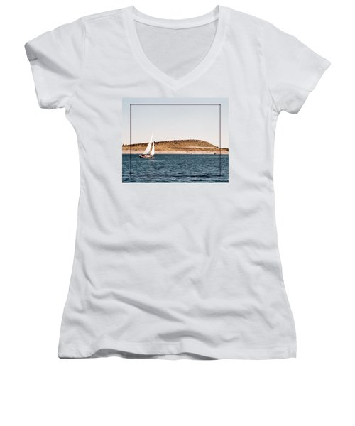 Women's V-Neck T-Shirt (Junior Cut) featuring the photograph Sailing On Carter Lake by David Pantuso