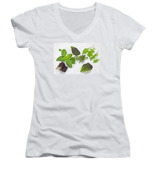 Salad Greens And Spices Women's V-Neck T-Shirt (Junior Cut) by Joana Kruse