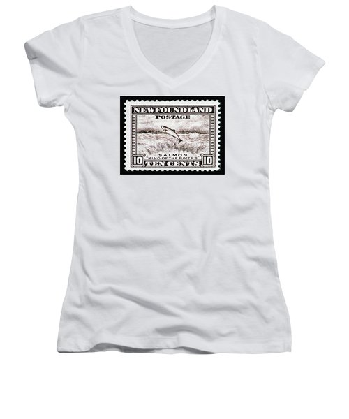 Salmon King Of The Rivers Women's V-Neck T-Shirt (Junior Cut) by Andy Prendy