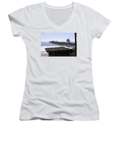Women's V-Neck T-Shirt (Junior Cut) featuring the photograph San Clemente Pier California by Clayton Bruster