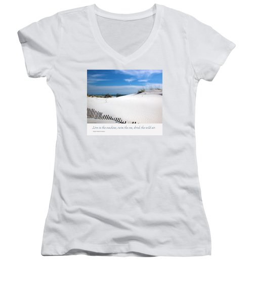 Sand Dunes Dream 3 Women's V-Neck T-Shirt (Junior Cut) by Marie Hicks