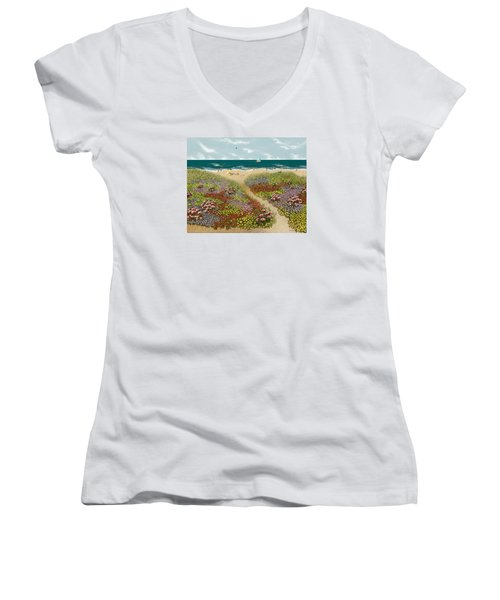 Sand Path Women's V-Neck T-Shirt (Junior Cut) by Katherine Young-Beck