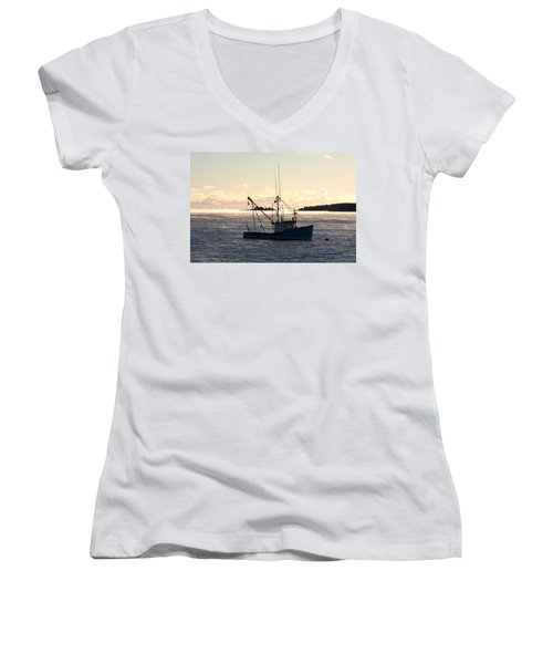 Sea-smoke On The Harbor Women's V-Neck