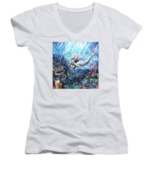 Women's V-Neck T-Shirt (Junior Cut) featuring the painting Sea Surrender by Shana Rowe Jackson