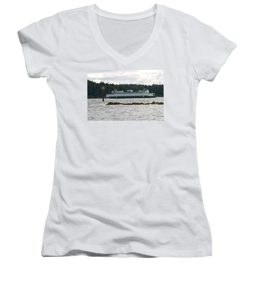 Women's V-Neck T-Shirt (Junior Cut) featuring the photograph Sealth Ferryboat Rich Passage by Kym Backland