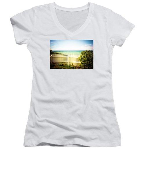 Women's V-Neck T-Shirt (Junior Cut) featuring the photograph Seaside Retreat by Sara Frank
