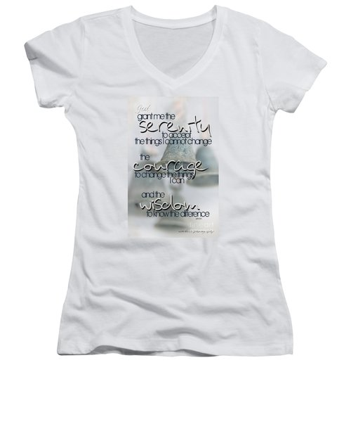 Women's V-Neck T-Shirt (Junior Cut) featuring the photograph Serenity Prayer With Bells by Vicki Ferrari