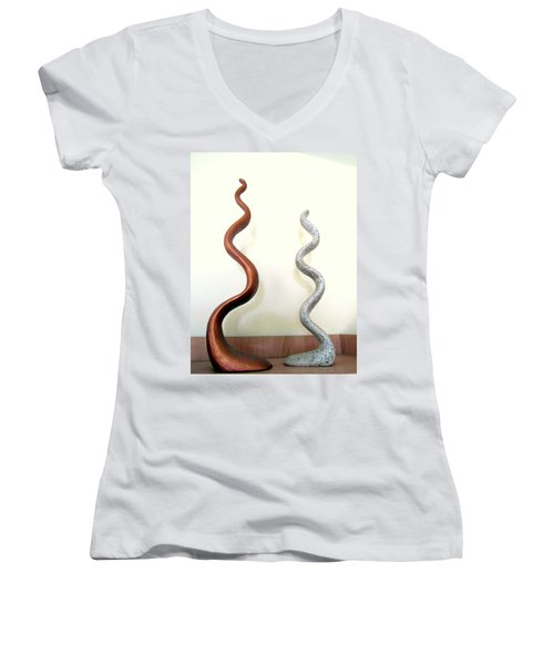 Serpants Duo Pair Of Abstract Snake Like Sculptures In Brown And Spotted White Dancing Upwards Women's V-Neck T-Shirt