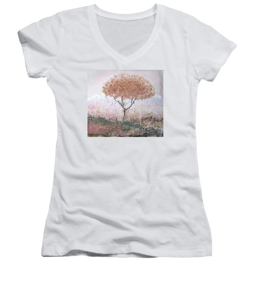 Silk Tree In Brown And Purple  Women's V-Neck T-Shirt