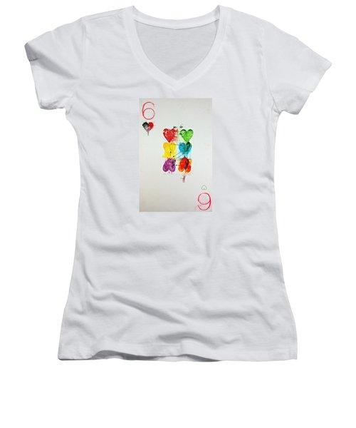 Six Of Hearts 2-52  2nd Series  Women's V-Neck T-Shirt (Junior Cut) by Cliff Spohn