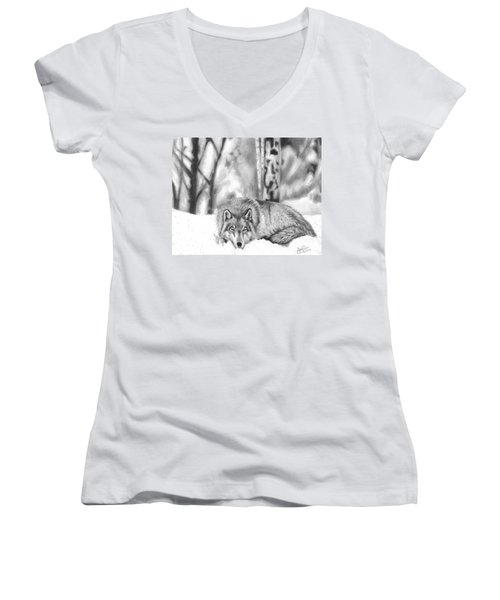 Sleeping In The Snow Women's V-Neck (Athletic Fit)