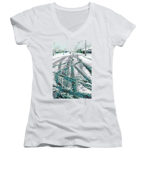 Women's V-Neck T-Shirt (Junior Cut) featuring the photograph Slipping And Sliding  by Steve Taylor