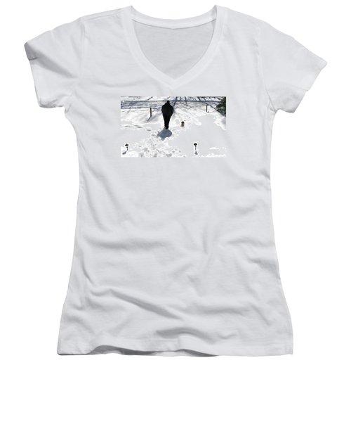 Women's V-Neck T-Shirt (Junior Cut) featuring the photograph Snow Buddies by Pamela Hyde Wilson