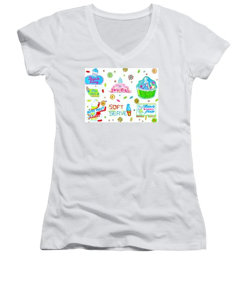 Women's V-Neck T-Shirt (Junior Cut) featuring the painting Soft Serve by Beth Saffer