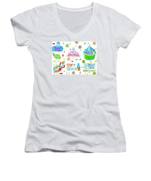 Soft Serve Women's V-Neck T-Shirt (Junior Cut) by Beth Saffer
