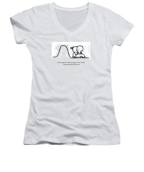 Sorry Women's V-Neck T-Shirt (Junior Cut) by Leanne Wilkes