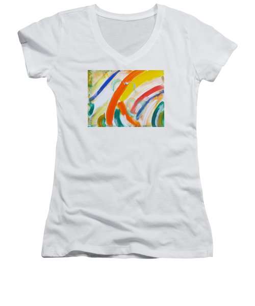 Women's V-Neck T-Shirt (Junior Cut) featuring the painting Souls by Sonali Gangane