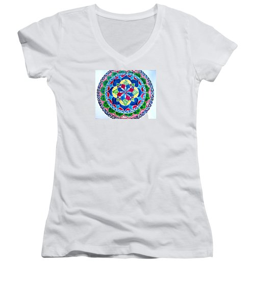 Spring Mandala Women's V-Neck T-Shirt (Junior Cut) by Sandra Lira