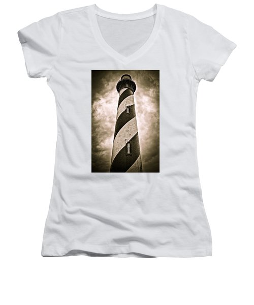 St Augustine Lighthouse Women's V-Neck T-Shirt (Junior Cut) by Bill Howard