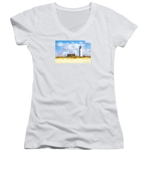 Women's V-Neck T-Shirt (Junior Cut) featuring the photograph St. George Island Lighthouse by Rhonda Strickland