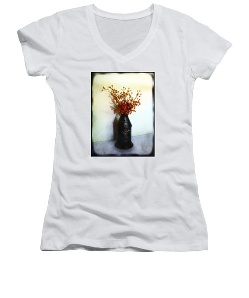 Women's V-Neck T-Shirt (Junior Cut) featuring the photograph Still Life With Berries by Judi Bagwell