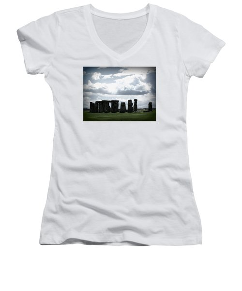 Stonehenge Women's V-Neck T-Shirt (Junior Cut) by Ian Kowalski