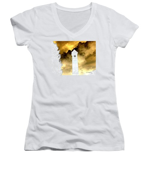 Storm Clouds Women's V-Neck T-Shirt (Junior Cut) by Greg Moores