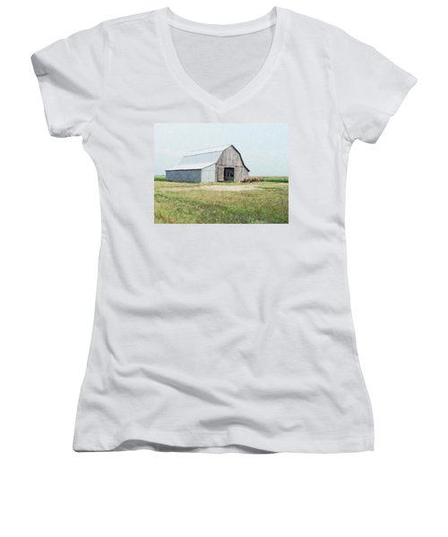 Women's V-Neck T-Shirt (Junior Cut) featuring the digital art Summer Barn by Debbie Portwood