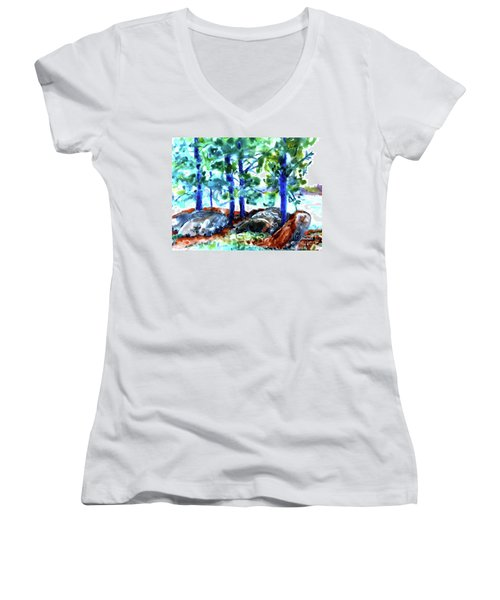 Summer By The Lake Women's V-Neck T-Shirt (Junior Cut) by Jan Bennicoff