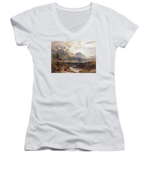 Sun Behind Clouds Women's V-Neck T-Shirt (Junior Cut) by John Linnell