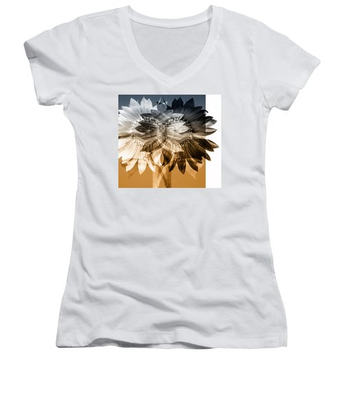 Sunflower Abstract Women's V-Neck (Athletic Fit)