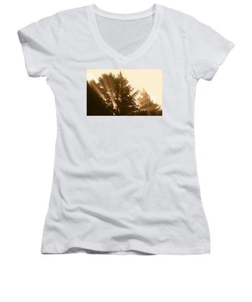Sunrise In Sepia Women's V-Neck T-Shirt